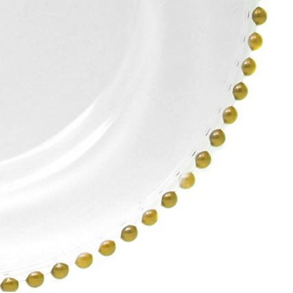 Glass Charger Gold Beaded 13 (Closeup) - AC Party Rentals