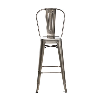 Monroe Gunmetal Barstool w Back - AC Party Rentals