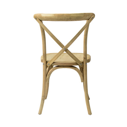 Napa Cross Back Chair (Natural) Back View - AC Party Rentals