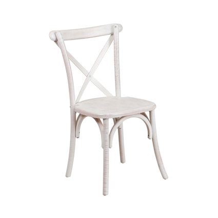 Napa Cross Back Chair (Whitewash) - AC Party Rentals