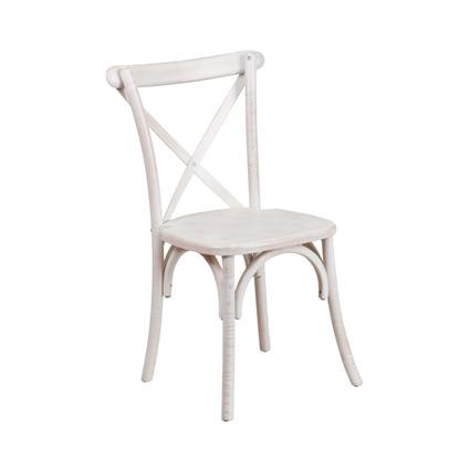 Napa Cross Back Chair (Whitewash) - AC Party Rentals