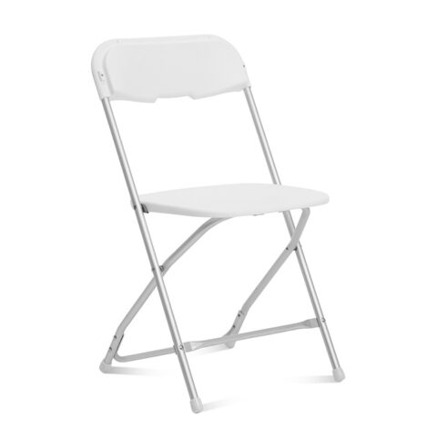 White Folding Chair Aluminum Frame - AC Party Rentals