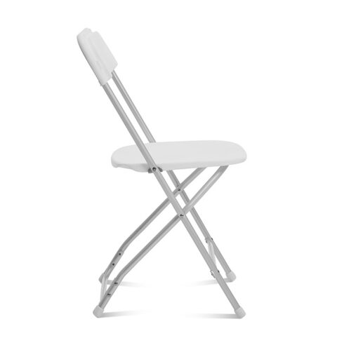 White Folding Chair Aluminum Frame : Side View - AC Party Rentals