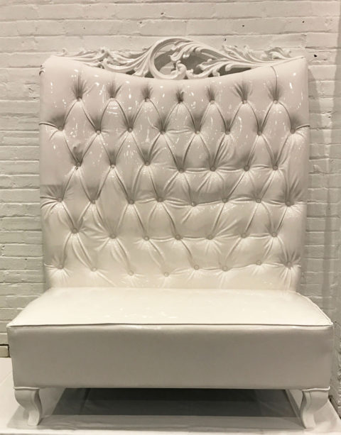 Throne Bench White Frame - AC Party Rental