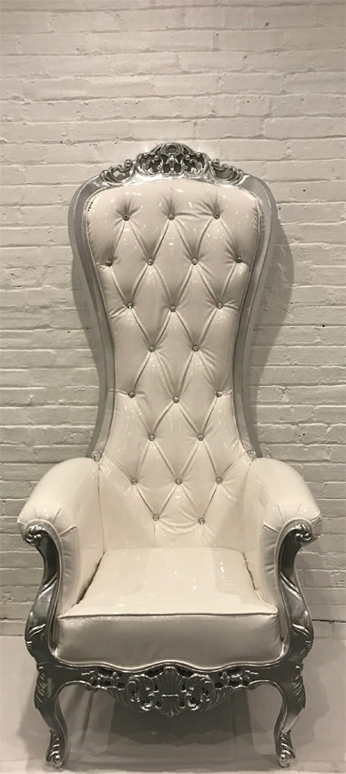 Throne Chair Silver Frame - AC Party Rental